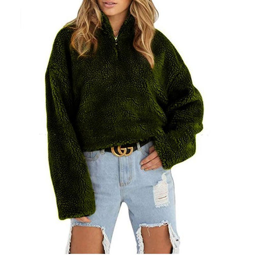 Women's Faux Fur Short Jacket Top Long Sleeve Warm  Streetwear Outerwear