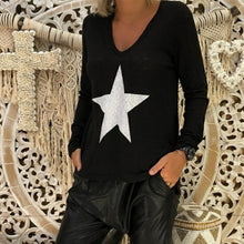 Load image into Gallery viewer, V Neck Star Printed Long Sleeve Casual T-Shirts