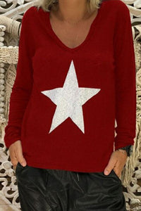 V Neck Star Printed Long Sleeve Casual T-Shirts