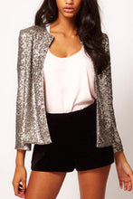 Load image into Gallery viewer, Band Collar  Glitter  Plain Jackets