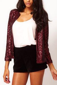 Band Collar  Glitter  Plain Jackets