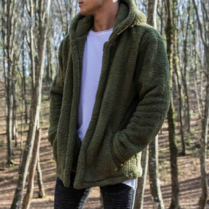 Men Casual Winter Plain Zipper Thick Coat