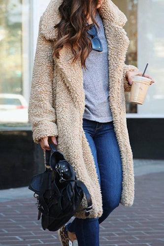 Fashion Lapel Long Sleeve Plain Casual Teddy Coats