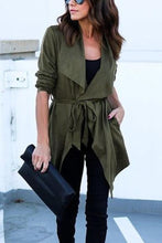 Load image into Gallery viewer, Asymmetric Hem  Belt  Plain Trench Coat