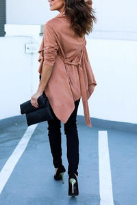 Asymmetric Hem  Belt  Plain Trench Coat