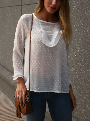 White V-Neck Long Sleeve Lace T-Shirt