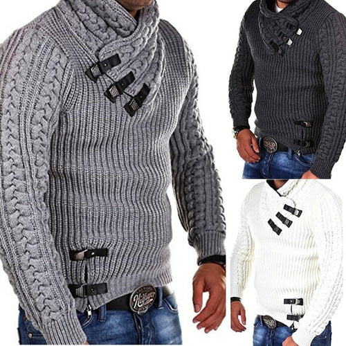 Explosive Men's Leather Button Sweater