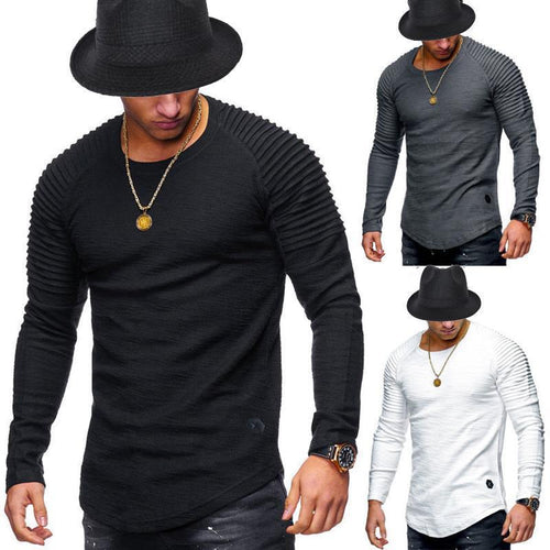 Mens Round Neck Slim Pleated Tops