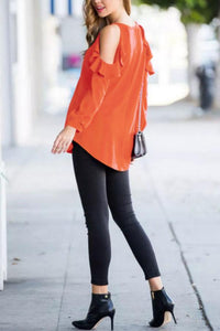 Open Shoulder  Flounce  Plain T-Shirts
