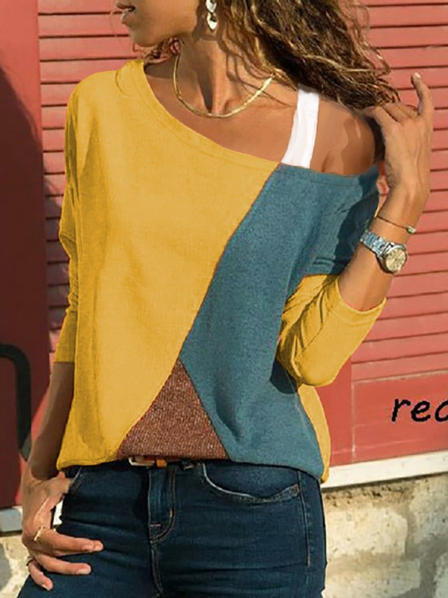 One Shoulder  Patchwork  Contrast Stitching  Color Block Long Sleeve T-Shirts