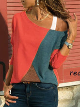 Load image into Gallery viewer, One Shoulder  Patchwork  Contrast Stitching  Color Block Long Sleeve T-Shirts