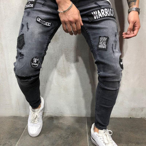 Men's Jeans Casual Slim Fit Trousers European Station Men's Pants
