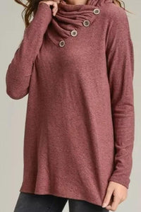 Cowl Neck  Single Breasted  Plain T-Shirts