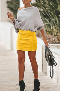 Sheath  Basic  Plain  Skirts