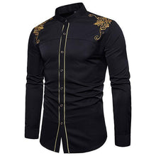 Load image into Gallery viewer, Men's Classic Embroidered Stand Collar Shirt