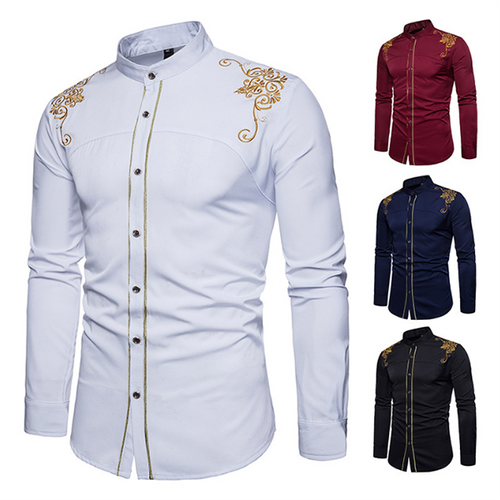 Men's Classic Embroidered Stand Collar Shirt