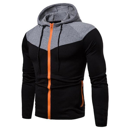 Men's Casual Colorblock Zipper Hooded Jacket