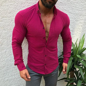 Long Sleeve   Button Lapels Men's Casual Shirt