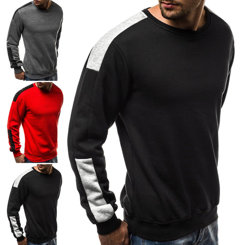 Mens Colorblock Loose Long Sleeve Hoodies