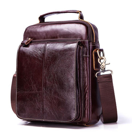 Vertical square leather double zipper Messenger bag
