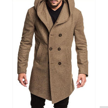 Load image into Gallery viewer, British Men's Hooded Wool Coat Coat