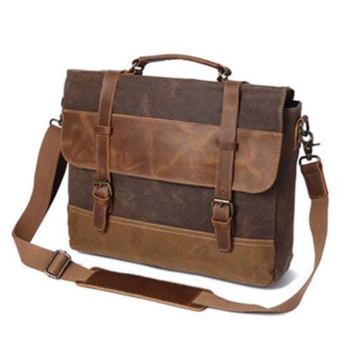 Retro Men's Oil Ladle Canvas Bag Crazy Horse Leather Briefcase Shoulder Messenger Bag