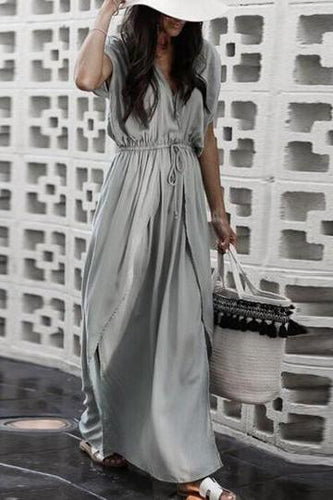 V Neck  Belt  Plain  Short Sleeve Maxi Dress
