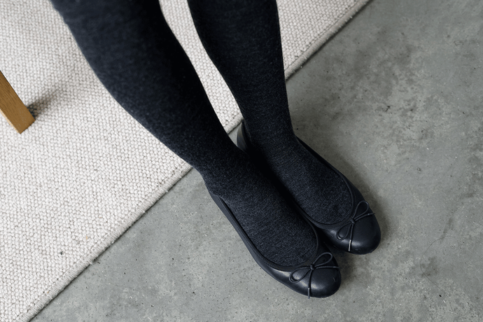 Nishiguchi Kutsushita, Merino, Made in Japan, Ethically Produced, Tights, Charcoal, Grey