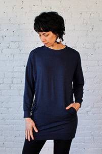 Gilmour, Ethically Made, Sustainable Loungewear, Made in Canada, Bamboo French Terry,  Sweatshirt,  Long, Pockets, Navy, Blue