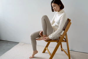 Nishiguchi Kutsushita, Silk, Made in Japan, Ethically Produced, Leggings, Ribbed, Oatmeal