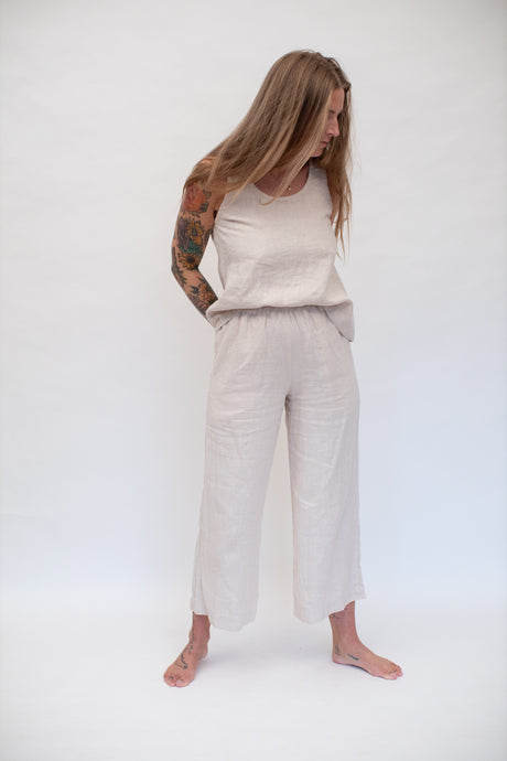 Moss Grey, Made in BC, Ethically Produced, Linen, Tank Top