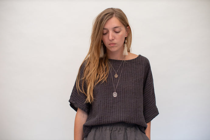 Moss Grey, Made in BC, Ethically Produced, Loungewear, Linen, Oversize, Dolman Sleeve, Top