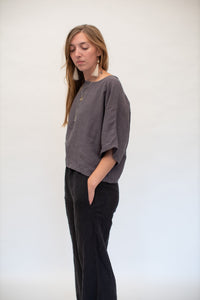 Moss Grey, Made in BC, Ethically Produced, Linen, Wide Leg, Pant, Black