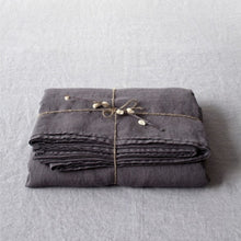 Load image into Gallery viewer, Lithuania Flat Washed Linen Bed Sheet - Dark Grey Queen Size by Linen Tales