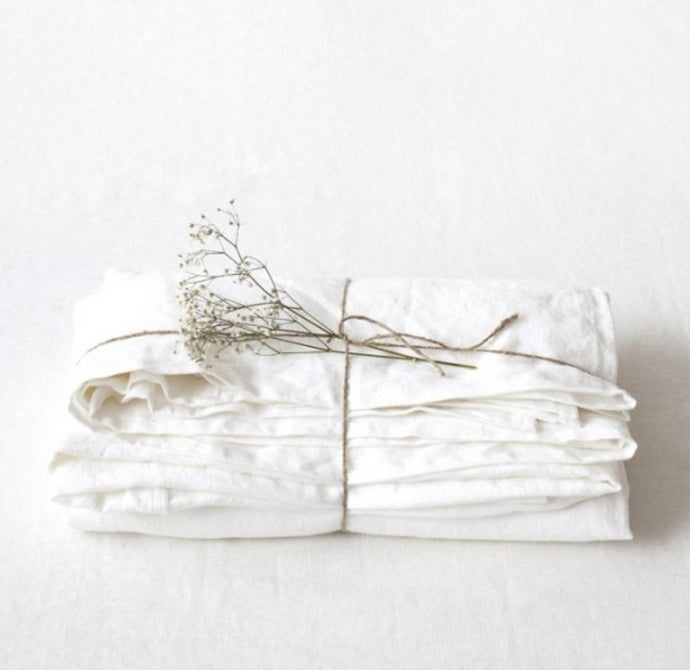 Lithuania Flat Washed Linen Bed Sheet - White King Size by Linen Tales