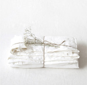 Lithuania Flat Washed Linen Bed Sheet - White Queen Size by Linen Tales