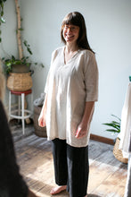 Load image into Gallery viewer, Moss Grey, Made in BC, Ethically Produced, Linen, Dress, V Neck, 3/4 Sleeves