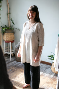 Moss Grey, Made in BC, Ethically Produced, Linen, Dress, V Neck, 3/4 Sleeves