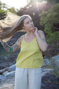 Moss Grey, Made in BC, Ethically Produced, Linen, Tank Top, Buttercup, Yellow