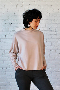 Bamboo French Terry Mock Neck Top