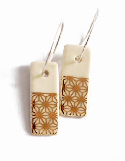 18k Starburst on White Porcelain Hoop Earrings