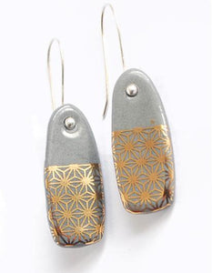 Starburst on Grey Porcelain Hook Earrings