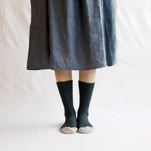 Load image into Gallery viewer, Nishiguchi Kutsushita, Cotton, Made in Japan, Ethically Produced, Recycled, Ribbed, Socks, Charocal, Grey