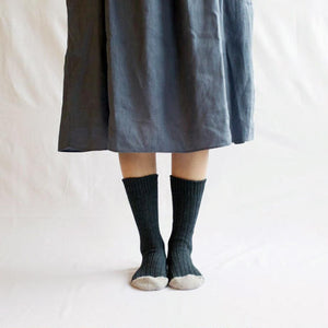Nishiguchi Kutsushita, Cotton, Made in Japan, Ethically Produced, Recycled, Ribbed, Socks, Charocal, Grey