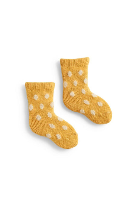 Made in US Wool Cashmere Crew Baby Socks by Lisa B. - Yellow Classic Dot