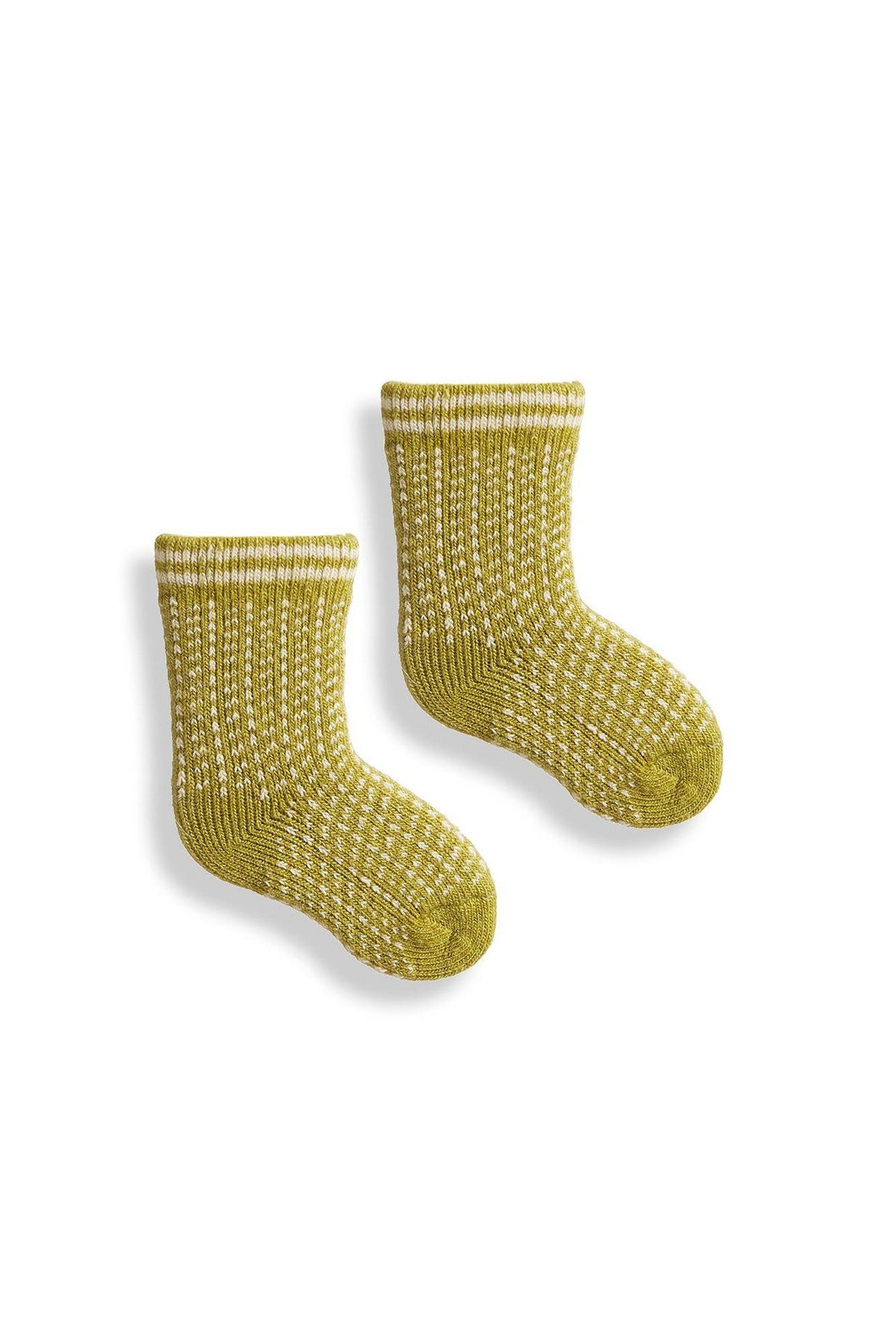 Lisa B, Crew Socks, Baby, Merino, Cashmere, Made in the USA, Sustainable, Ethically Produced, Apple Green, Nordic Birdseye