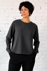 Gilmour, Ethically Made, Sustainable Loungewear, Made in Canada, Bamboo French Terry, Crop, Sweatshirt, Charcoal, Grey