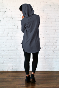 Gilmour, Ethically Made, Sustainable Loungewear, Made in Canada, Bamboo French Terry, Hoodie, Denim, Blue