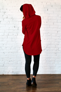 Gilmour, Ethically Made, Sustainable Loungewear, Made in Canada, Bamboo French Terry, Hoodie, Scarlet, Red