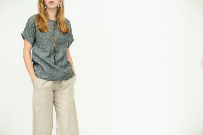 Moss Grey, Made in Canada, Ethically Produced, Linen, T-shirt, Dolman, Slate, Blue